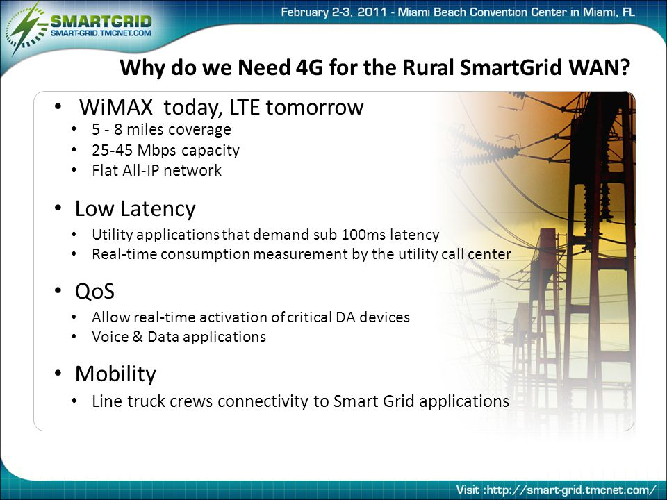 Why do we Need 4G for the Rural SmartGrid WAN.