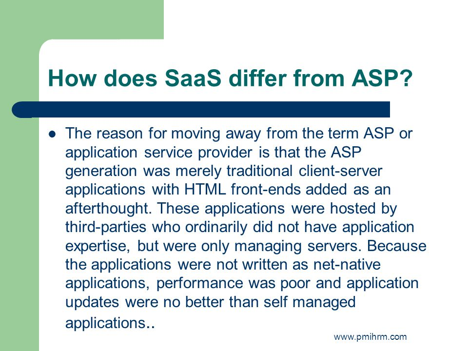 How does SaaS differ from ASP.