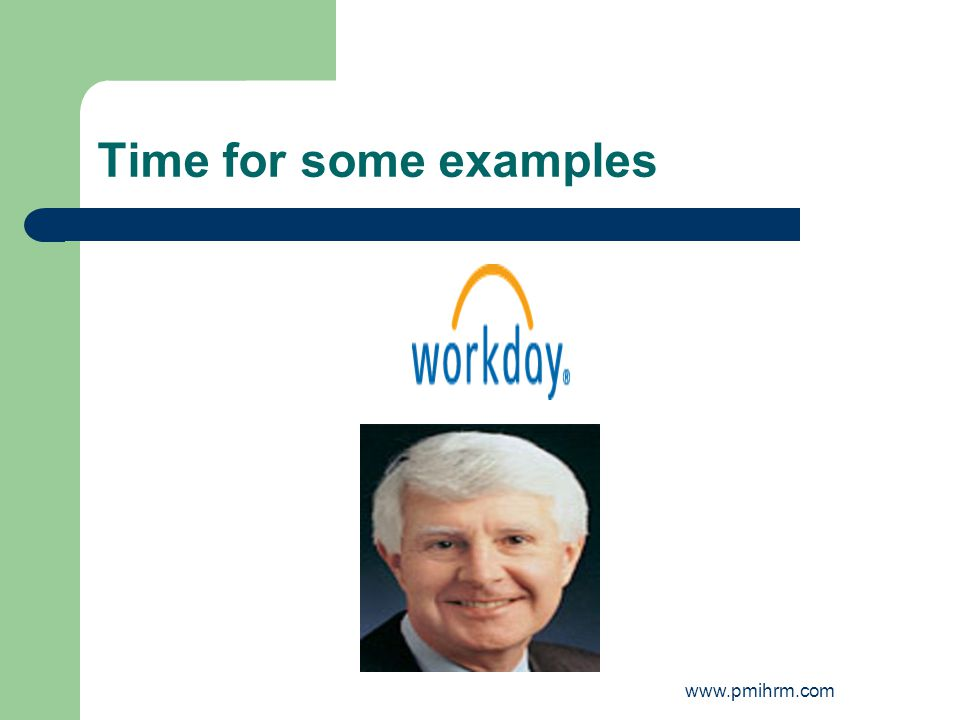 Time for some examples www.pmihrm.com