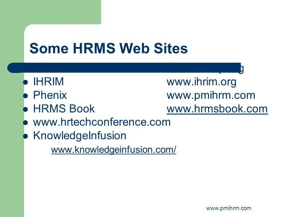 www.pmihrm.com Some HRMS Web Sites HRMSPwww.hrmsp.org IHRIMwww.ihrim.org Phenixwww.pmihrm.com HRMS Bookwww.hrmsbook.comwww.hrmsbook.com www.hrtechconf