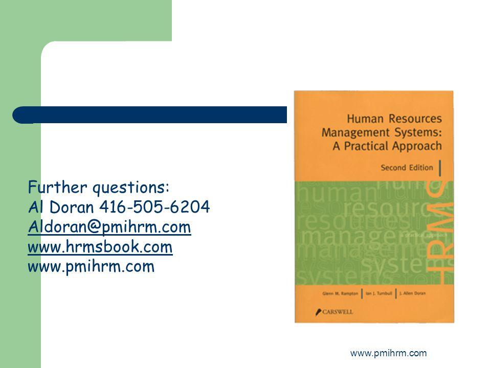 www.pmihrm.com Further questions: Al Doran 416-505-6204 Aldoran@pmihrm.com www.hrmsbook.com www.pmihrm.com