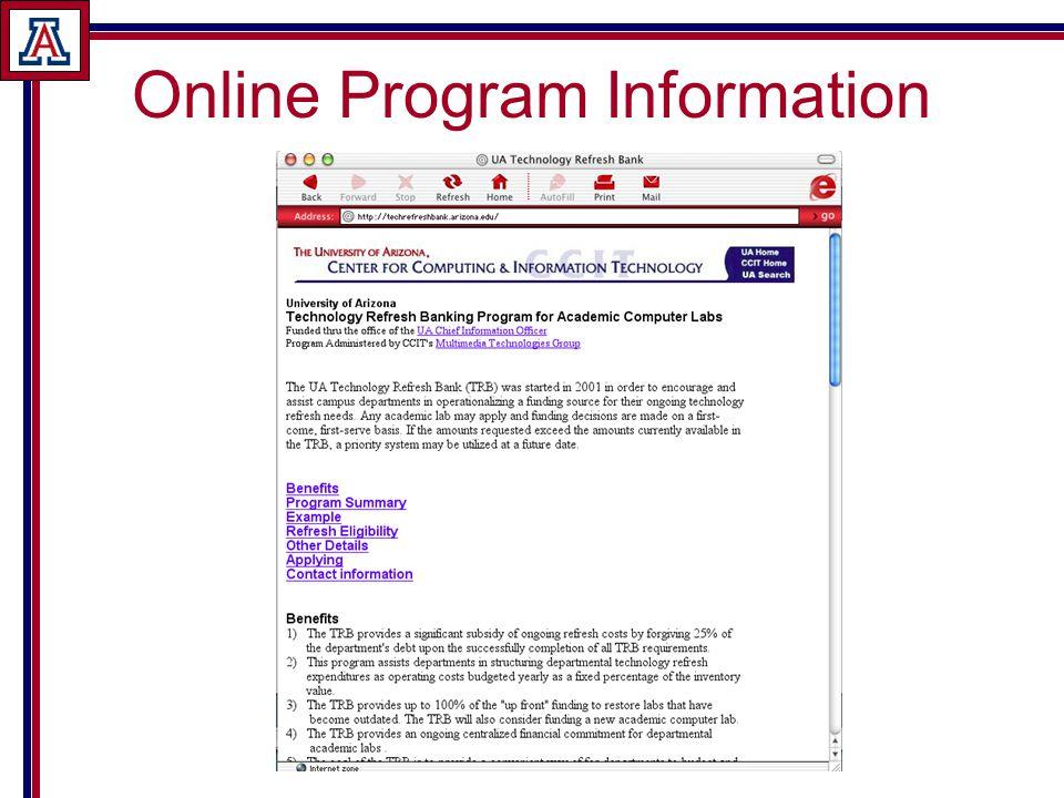 Online Program Information