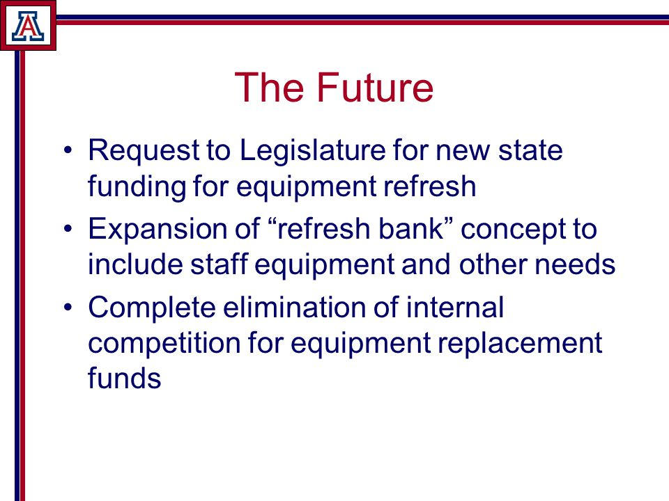 The Future Request to Legislature for new state funding for equipment refresh Expansion of refresh bank concept to include staff equipment and other needs Complete elimination of internal competition for equipment replacement funds