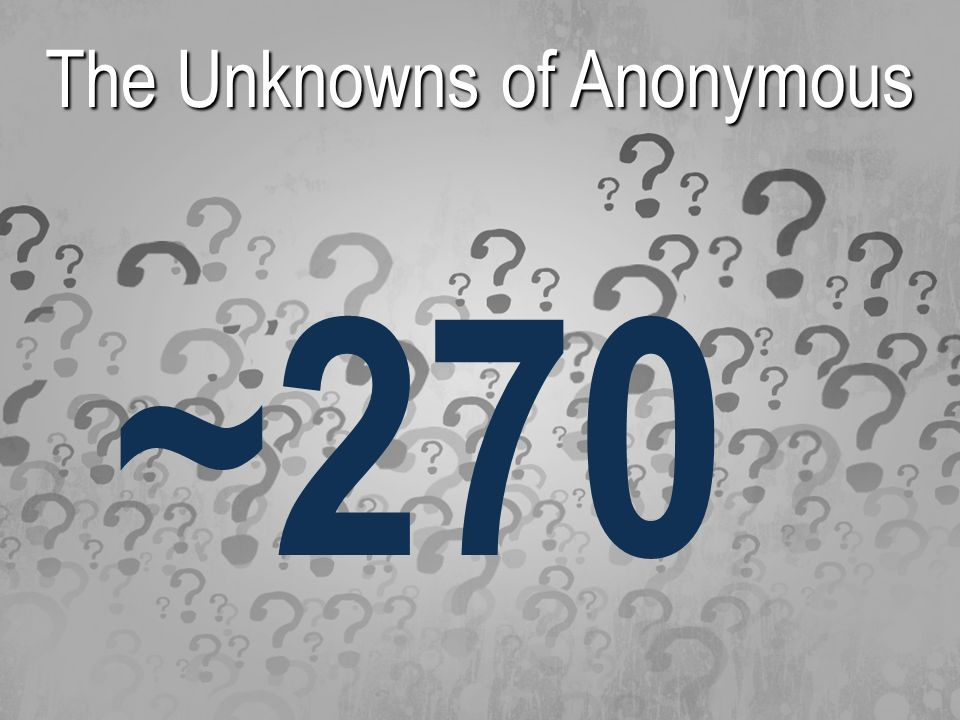 The Unknowns of Anonymous ~270