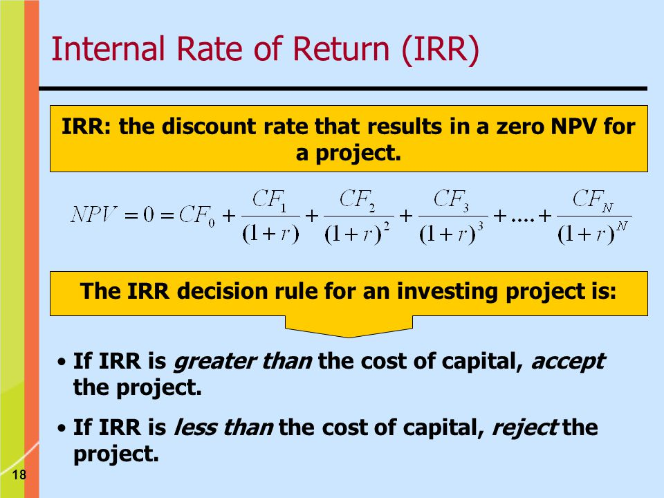 18 IRR: the discount rate that results in a zero NPV for a project.