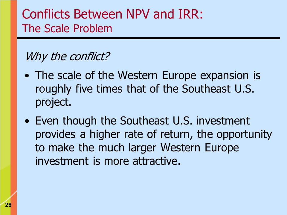 26 Conflicts Between NPV and IRR: The Scale Problem Why the conflict.