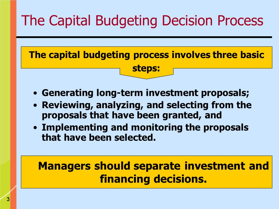 3 The capital budgeting process involves three basic steps: Generating long-term investment proposals; Reviewing, analyzing, and selecting from the proposals that have been granted, and Implementing and monitoring the proposals that have been selected.