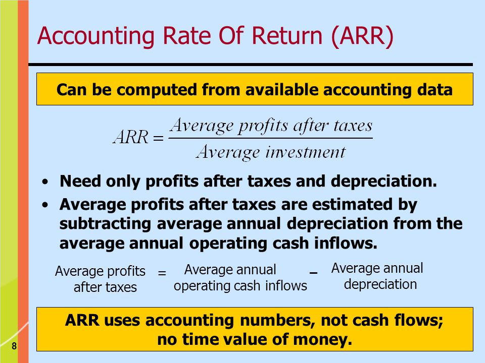 8 Can be computed from available accounting data ARR uses accounting numbers, not cash flows; no time value of money.