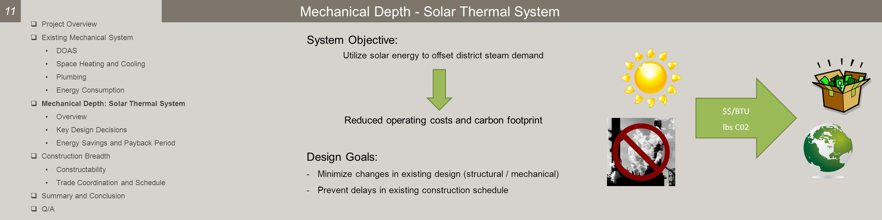 Mechanical Depth - Solar Thermal System System Objective: Utilize solar energy to offset district steam demand Reduced operating costs and carbon footprint $$/BTU lbs C02 11  Project Overview  Existing Mechanical System DOAS Space Heating and Cooling Plumbing Energy Consumption  Mechanical Depth: Solar Thermal System Overview Key Design Decisions Energy Savings and Payback Period  Construction Breadth Constructability Trade Coordination and Schedule  Summary and Conclusion  Q/A Design Goals: -Minimize changes in existing design (structural / mechanical) -Prevent delays in existing construction schedule