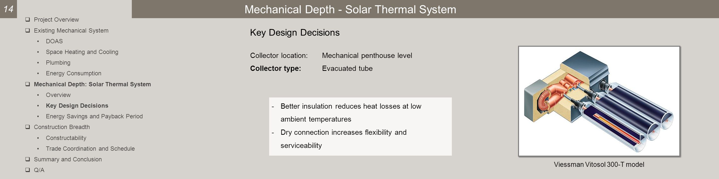 Mechanical Depth - Solar Thermal System Key Design Decisions Viessman Vitosol 300-T model -Better insulation reduces heat losses at low ambient temperatures -Dry connection increases flexibility and serviceability 14  Project Overview  Existing Mechanical System DOAS Space Heating and Cooling Plumbing Energy Consumption  Mechanical Depth: Solar Thermal System Overview Key Design Decisions Energy Savings and Payback Period  Construction Breadth Constructability Trade Coordination and Schedule  Summary and Conclusion  Q/A Collector location:Mechanical penthouse level Collector type:Evacuated tube