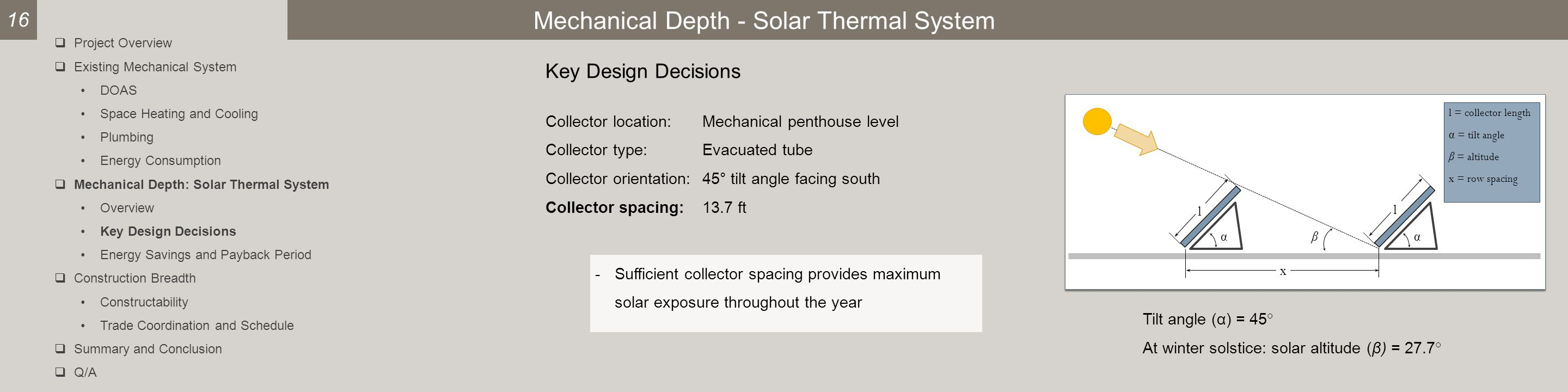 Mechanical Depth - Solar Thermal System Key Design Decisions Collector location:Mechanical penthouse level Collector type:Evacuated tube Collector orientation:45° tilt angle facing south Collector spacing:13.7 ft l β l x αα l = collector length α = tilt angle β = altitude x = row spacing Tilt angle (α) = 45° At winter solstice: solar altitude (β) = 27.7° -Sufficient collector spacing provides maximum solar exposure throughout the year 16  Project Overview  Existing Mechanical System DOAS Space Heating and Cooling Plumbing Energy Consumption  Mechanical Depth: Solar Thermal System Overview Key Design Decisions Energy Savings and Payback Period  Construction Breadth Constructability Trade Coordination and Schedule  Summary and Conclusion  Q/A