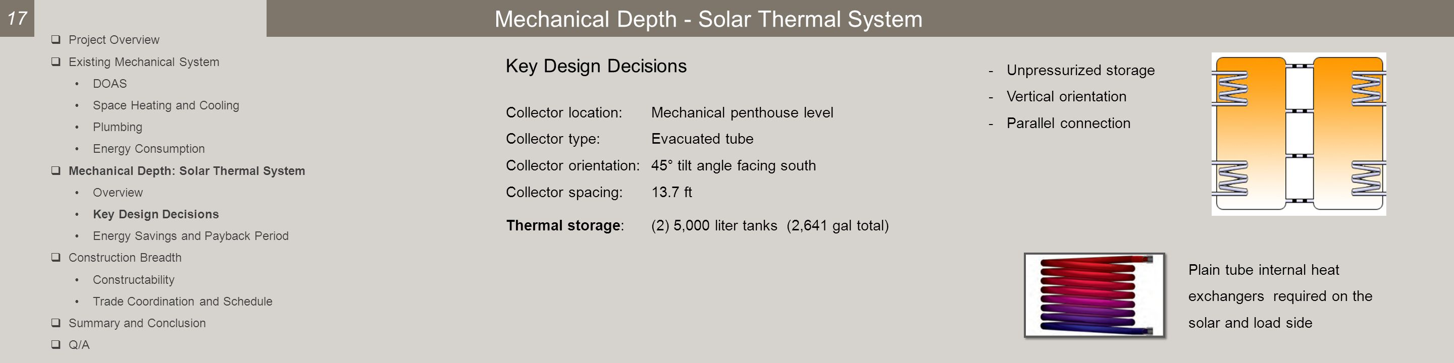 Mechanical Depth - Solar Thermal System Key Design Decisions Collector location:Mechanical penthouse level Collector type:Evacuated tube Collector orientation:45° tilt angle facing south Collector spacing:13.7 ft Thermal storage:(2) 5,000 liter tanks (2,641 gal total) 17 -Unpressurized storage -Vertical orientation -Parallel connection Plain tube internal heat exchangers required on the solar and load side  Project Overview  Existing Mechanical System DOAS Space Heating and Cooling Plumbing Energy Consumption  Mechanical Depth: Solar Thermal System Overview Key Design Decisions Energy Savings and Payback Period  Construction Breadth Constructability Trade Coordination and Schedule  Summary and Conclusion  Q/A