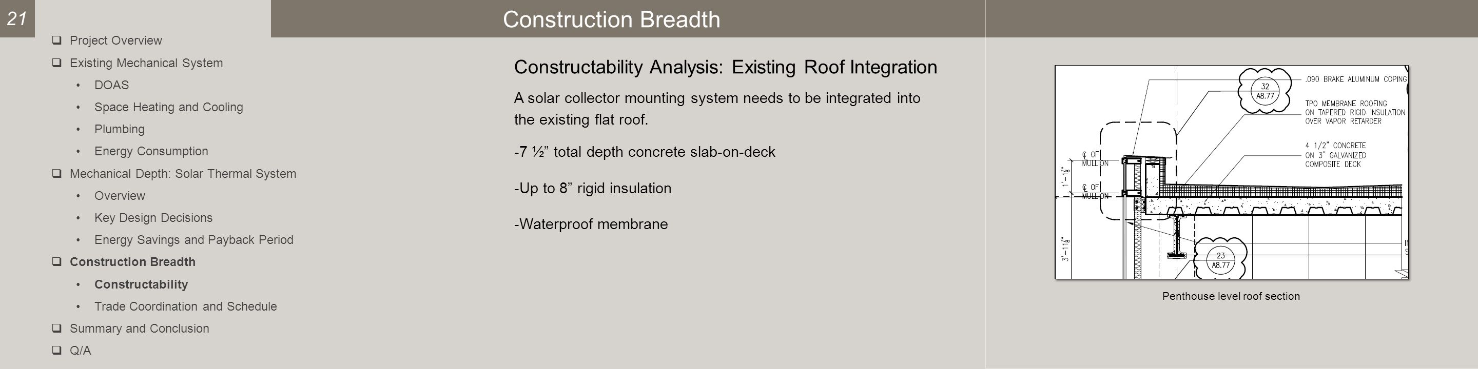 Construction Breadth Constructability Analysis: Existing Roof Integration A solar collector mounting system needs to be integrated into the existing flat roof.