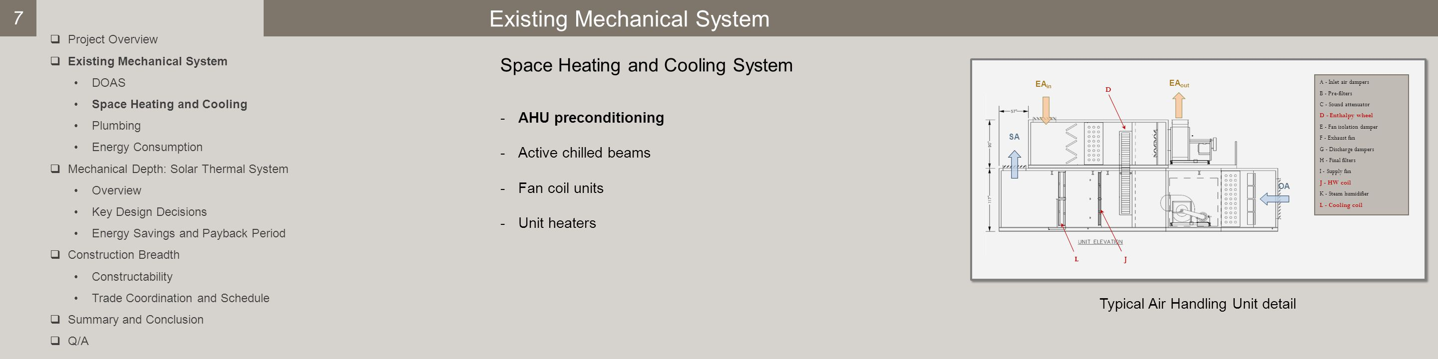 Existing Mechanical System Space Heating and Cooling System -AHU preconditioning -Active chilled beams -Fan coil units -Unit heaters Typical Air Handling Unit detail 7  Project Overview  Existing Mechanical System DOAS Space Heating and Cooling Plumbing Energy Consumption  Mechanical Depth: Solar Thermal System Overview Key Design Decisions Energy Savings and Payback Period  Construction Breadth Constructability Trade Coordination and Schedule  Summary and Conclusion  Q/A