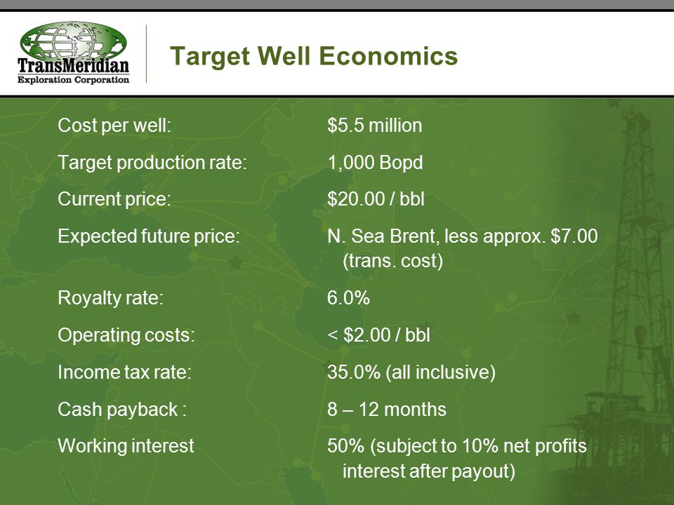 Target Well Economics Cost per well:$5.5 million Target production rate:1,000 Bopd Current price:$20.00 / bbl Expected future price:N.