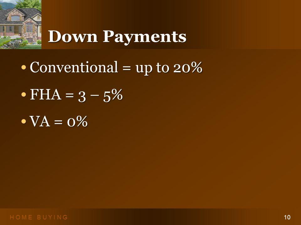 H O M E B U Y I N G10 Down Payments Conventional = up to 20% Conventional = up to 20% FHA = 3 – 5% FHA = 3 – 5% VA = 0% VA = 0% Conventional = up to 20% Conventional = up to 20% FHA = 3 – 5% FHA = 3 – 5% VA = 0% VA = 0%