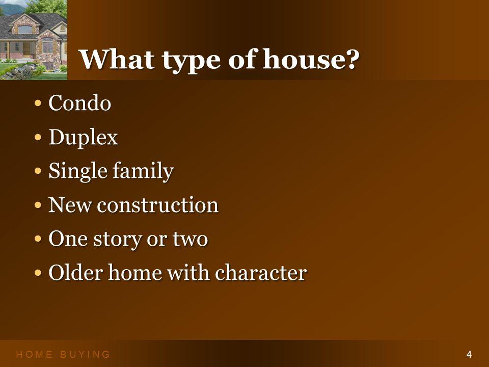 H O M E B U Y I N G4 What type of house.