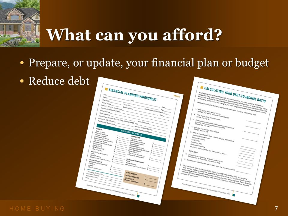 H O M E B U Y I N G8 Credit Scores 35% - Your Payment History 35% - Your Payment History 30% - Amounts You Owe 30% - Amounts You Owe 15% - Length of Your Credit History 15% - Length of Your Credit History 10% - Types of Credit Used 10% - Types of Credit Used 10% - New Credit 10% - New Creditwww.annualcreditreport.com 35% - Your Payment History 35% - Your Payment History 30% - Amounts You Owe 30% - Amounts You Owe 15% - Length of Your Credit History 15% - Length of Your Credit History 10% - Types of Credit Used 10% - Types of Credit Used 10% - New Credit 10% - New Creditwww.annualcreditreport.com