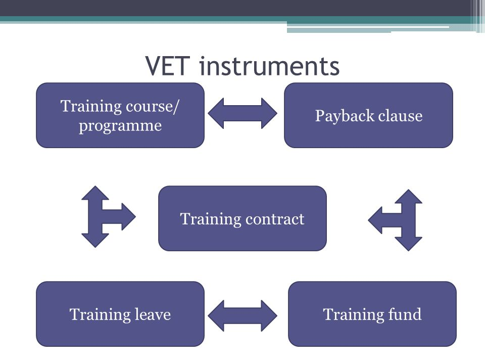 VET instruments Training course/ programme Training contract Payback clause Training leaveTraining fund