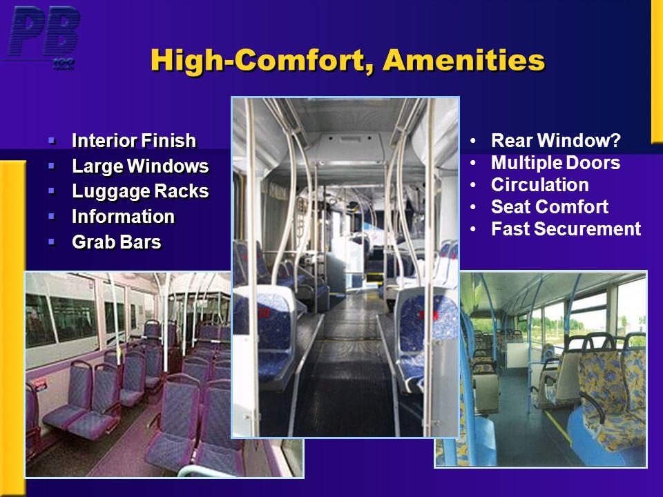 High-Comfort, Amenities  Interior Finish  Large Windows  Luggage Racks  Information  Grab Bars  Interior Finish  Large Windows  Luggage Racks  Information  Grab Bars Rear Window.