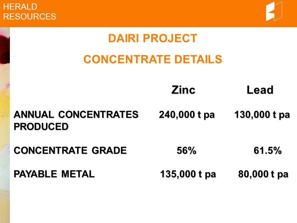 DAIRI PROJECT CONCENTRATE DETAILS HERALD RESOURCES Zinc Lead Zinc Lead ANNUAL CONCENTRATES 240,000 t pa 130,000 t pa PRODUCED CONCENTRATE GRADE 56% 61.5% PAYABLE METAL 135,000 t pa 80,000 t pa