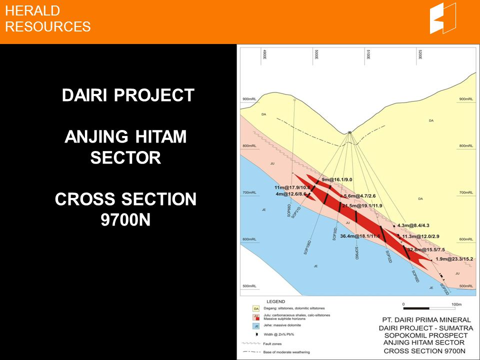 HERALD RESOURCES DAIRI PROJECT ANJING HITAM SECTOR CROSS SECTION 9700N