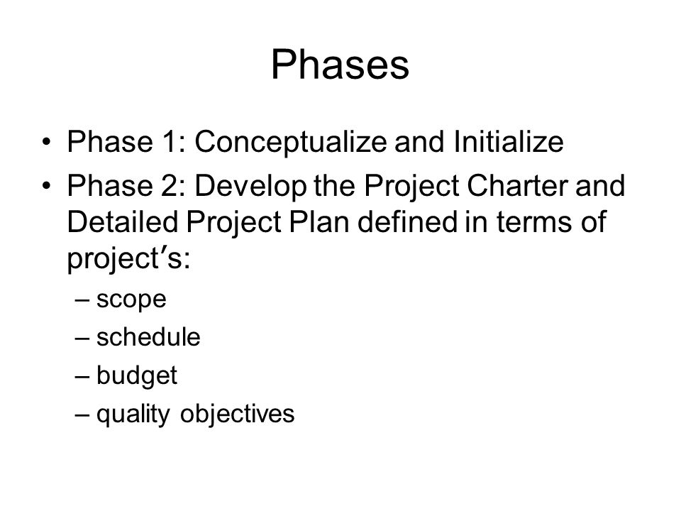 Phases Phase 1: Conceptualize and Initialize Phase 2: Develop the Project Charter and Detailed Project Plan defined in terms of project ' s: –scope –s