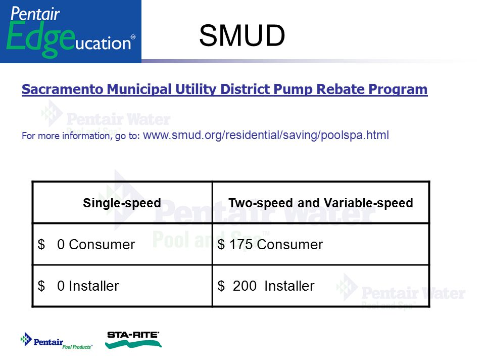 SMUD Sacramento Municipal Utility District Pump Rebate Program For more information, go to: www.smud.org/residential/saving/poolspa.html Single-speedT