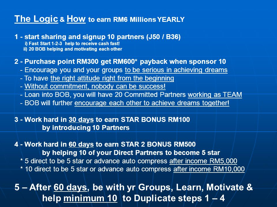Dream to earn Yearly RM6 Millions !!.It's not easy, but if you just compare, it's EASIER!.