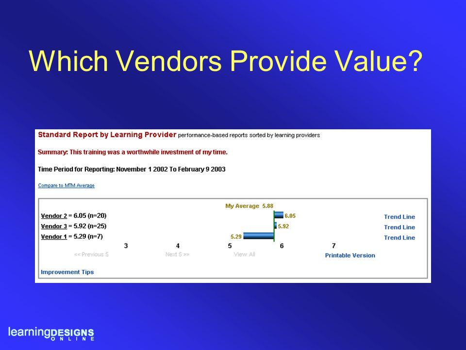Which Vendors Provide Value?