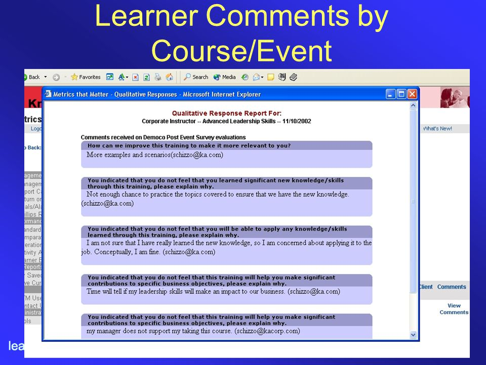 Learner Comments by Course/Event