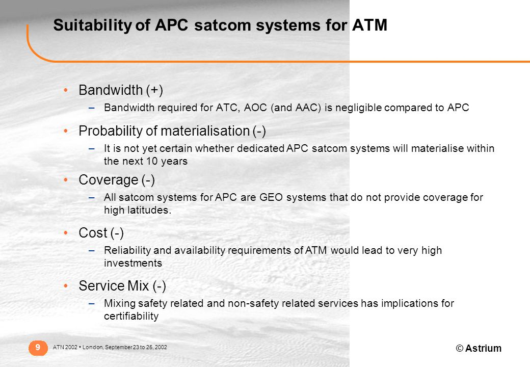 © Astrium ATN 2002 London, September 23 to 25, 2002 9 Suitability of APC satcom systems for ATM Bandwidth (+) –Bandwidth required for ATC, AOC (and AAC) is negligible compared to APC Probability of materialisation (-) –It is not yet certain whether dedicated APC satcom systems will materialise within the next 10 years Coverage (-) –All satcom systems for APC are GEO systems that do not provide coverage for high latitudes.