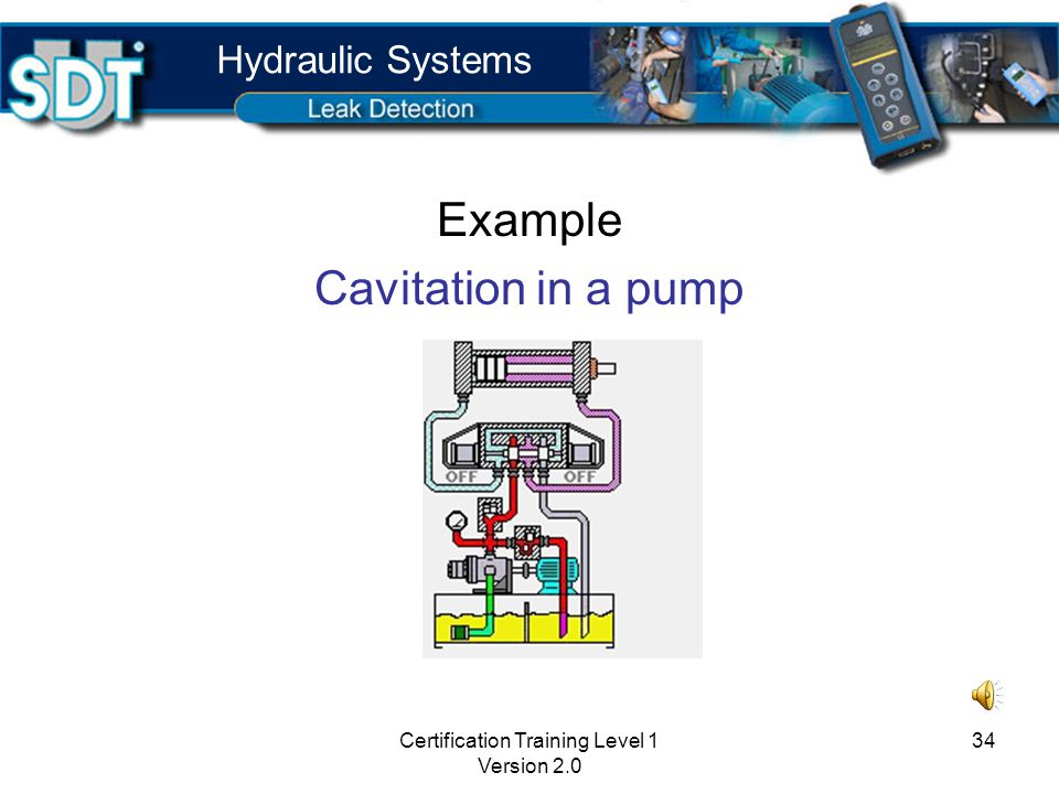 Certification Training Level 1 Version 2.0 33 Benefits Find internal leaks and passing valves Find cavitation Perform inspection without disassembly Save time Use contact sensor Hydraulic Systems