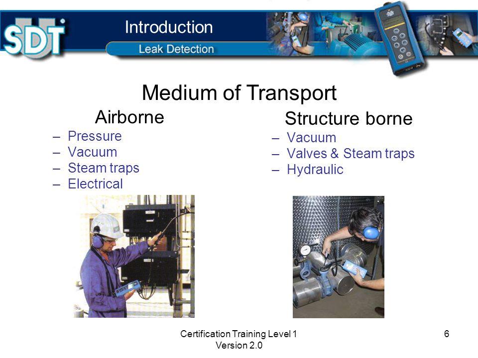 Certification Training Level 1 Version 2.0 6 Airborne –Pressure –Vacuum –Steam traps –Electrical Structure borne –Vacuum –Valves & Steam traps –Hydraulic Introduction Medium of Transport