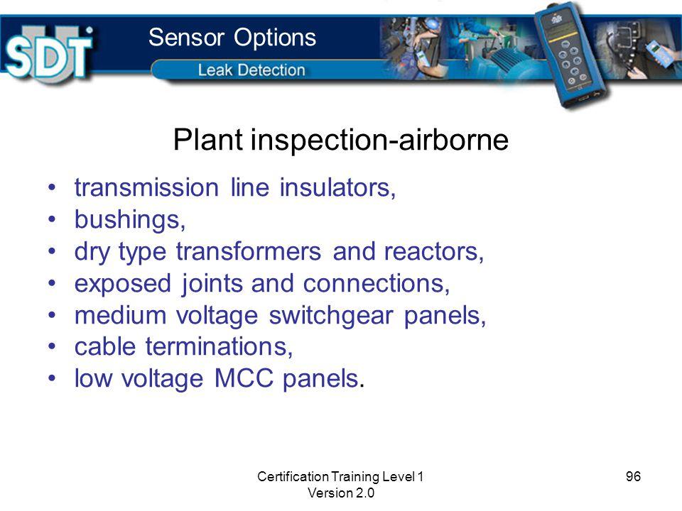 Certification Training Level 1 Version 2.0 95 Plant inspection Short range Internal Sensor or EDS Contact Flexible Sensor or magnetic sensor Scan betw