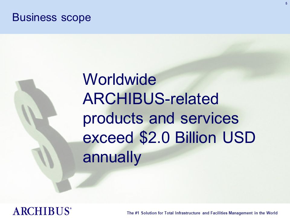 The #1 Solution for Total Infrastructure and Facilities Management in the World © 2007 ARCHIBUS, Inc. All rights reserved. 5 Business scope Worldwide