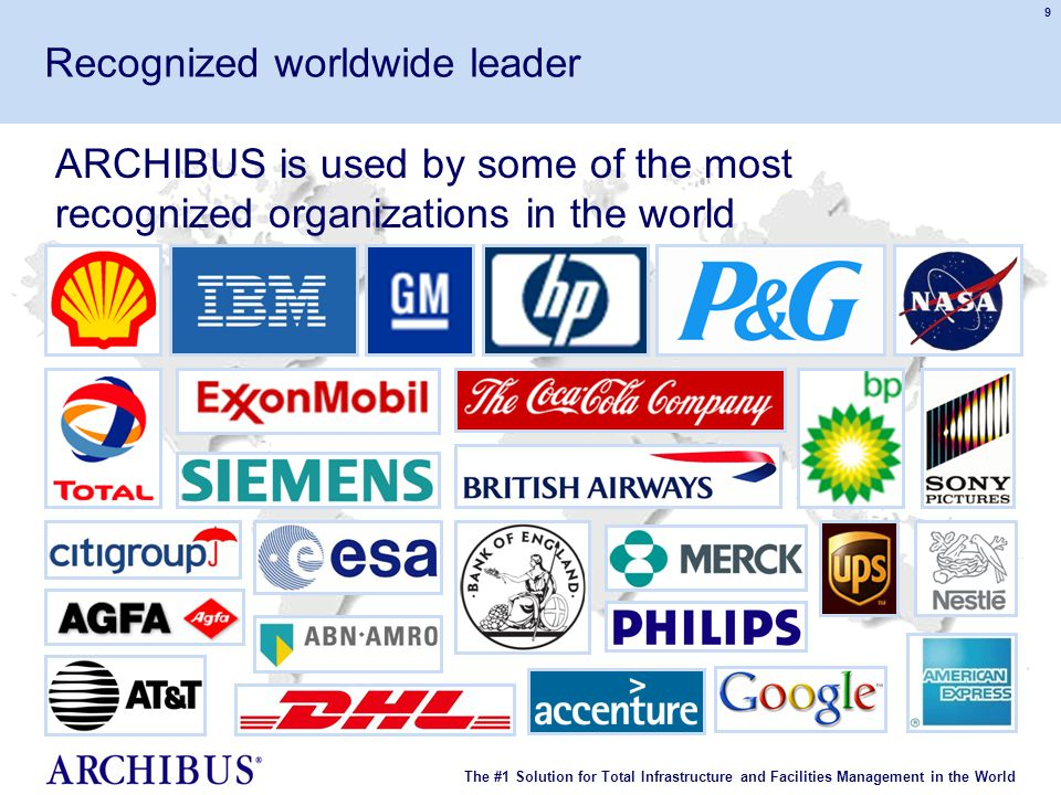 The #1 Solution for Total Infrastructure and Facilities Management in the World © 2007 ARCHIBUS, Inc. All rights reserved. 9 ARCHIBUS is used by some