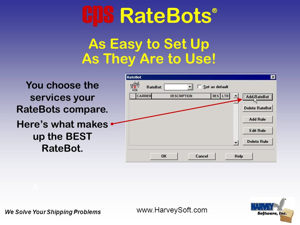 As They Are to Use! As Easy to Set Up cps RateBots ® You choose the services your RateBots compare. Here's what makes up the BEST RateBot. A We Solve