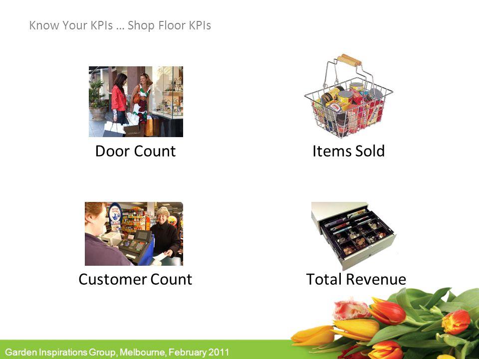 Garden Inspirations Group, Melbourne, February 2011 Know Your KPIs … Shop Floor KPIs Items Sold Total Revenue Customer Count Door Count