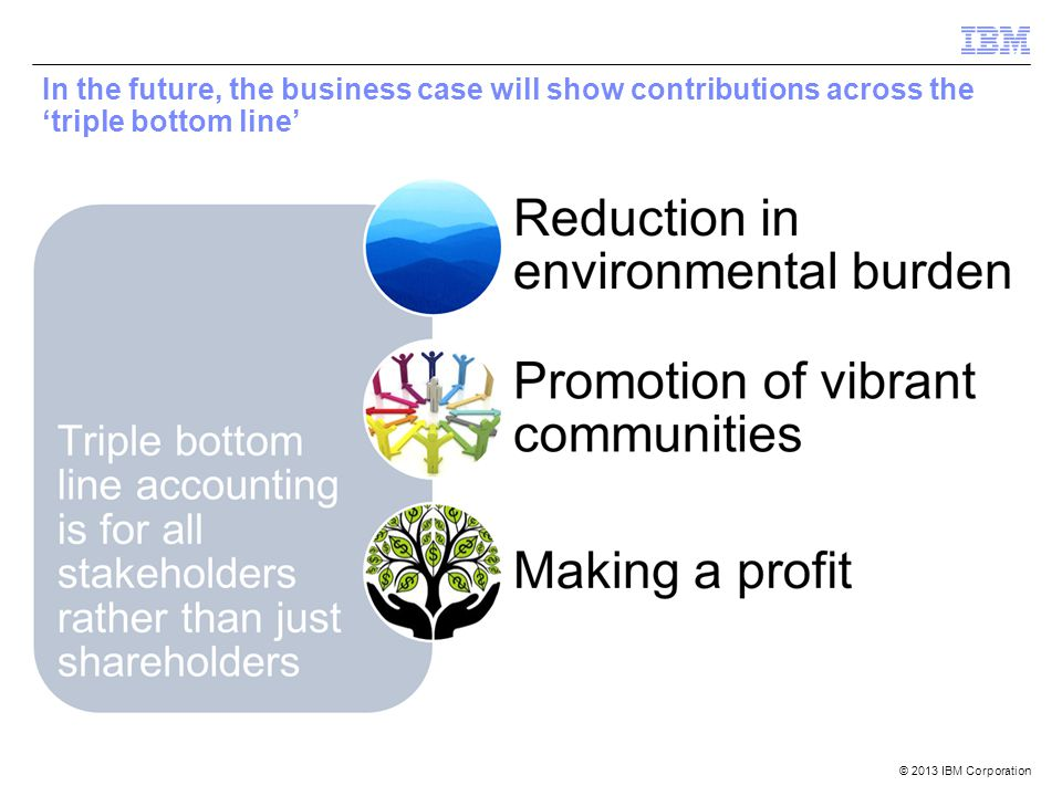 © 2013 IBM Corporation In the future, the business case will show contributions across the 'triple bottom line'