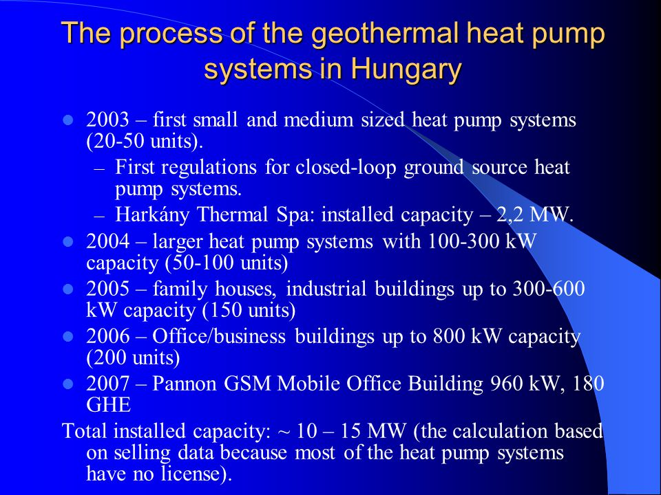 The process of the geothermal heat pump systems in Hungary 2003 – first small and medium sized heat pump systems (20-50 units).