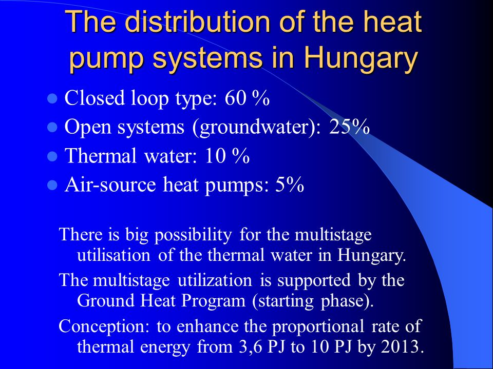 The distribution of the heat pump systems in Hungary Closed loop type: 60 % Open systems (groundwater): 25% Thermal water: 10 % Air-source heat pumps: 5% There is big possibility for the multistage utilisation of the thermal water in Hungary.