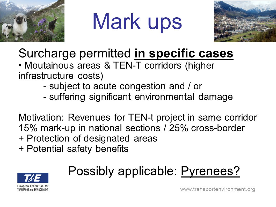 www.transportenvironment.org Mark ups Surcharge permitted in specific cases Moutainous areas & TEN-T corridors (higher infrastructure costs) - subject to acute congestion and / or - suffering significant environmental damage Motivation: Revenues for TEN-t project in same corridor 15% mark-up in national sections / 25% cross-border + Protection of designated areas + Potential safety benefits Possibly applicable: Pyrenees