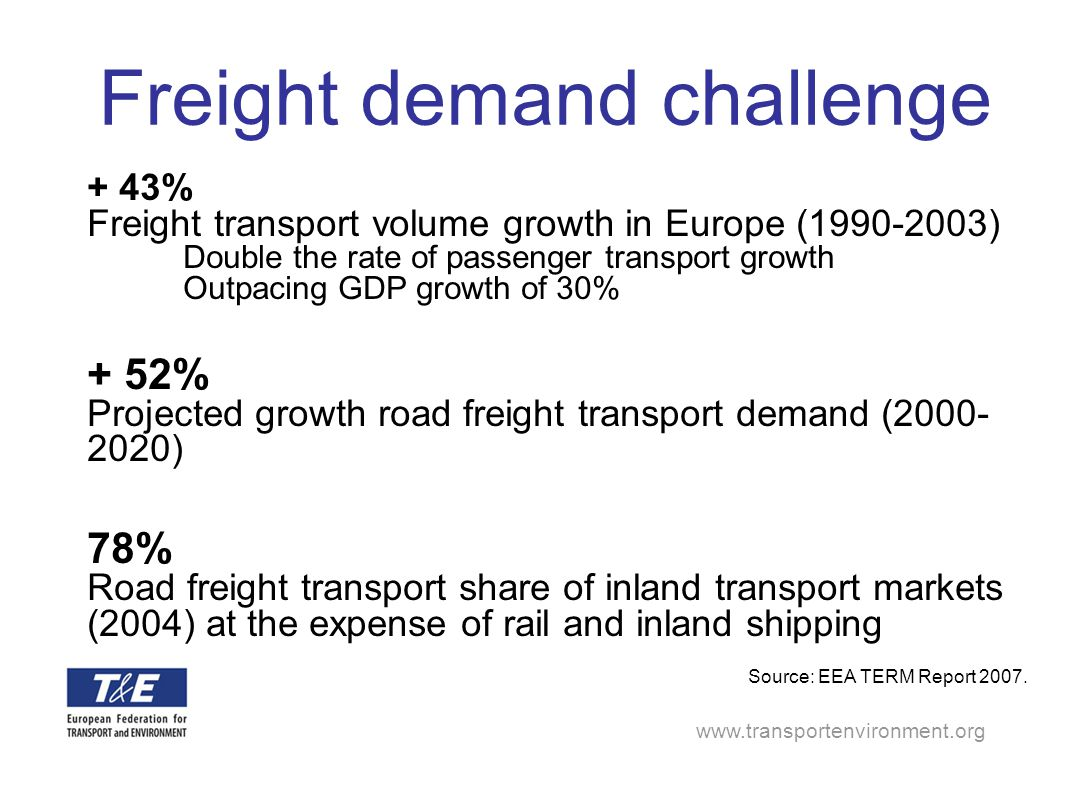www.transportenvironment.org Freight demand challenge + 43% Freight transport volume growth in Europe (1990-2003) Double the rate of passenger transpo