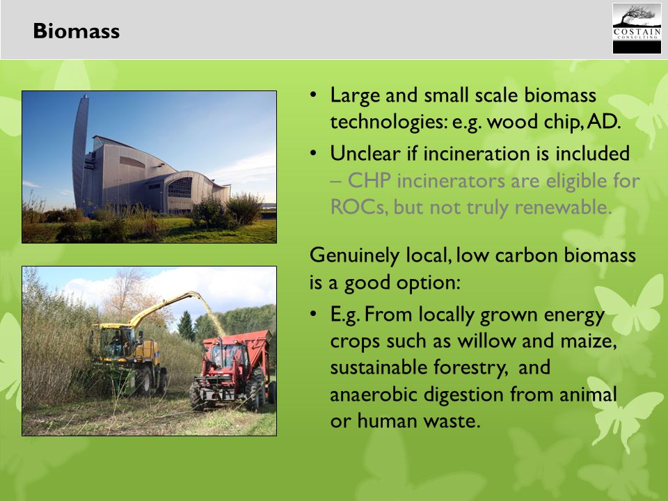 Large and small scale biomass technologies: e.g. wood chip, AD. Unclear if incineration is included – CHP incinerators are eligible for ROCs, but not