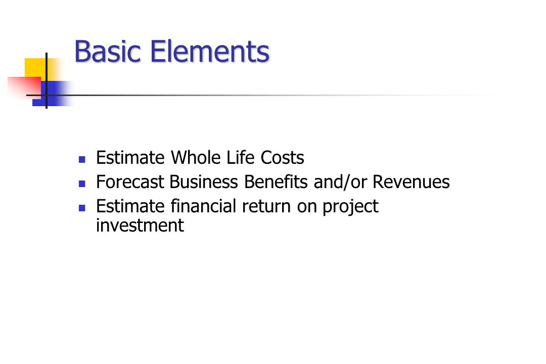 Basic Elements Estimate Whole Life Costs Forecast Business Benefits and/or Revenues Estimate financial return on project investment