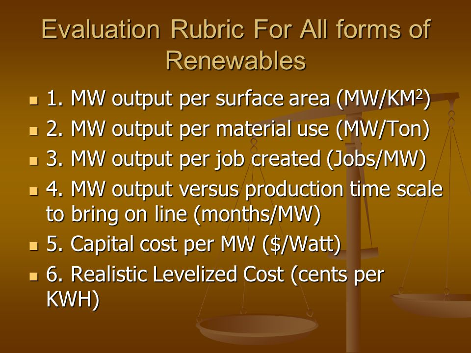 Evaluation Rubric For All forms of Renewables 1. MW output per surface area (MW/KM 2 ) 1.