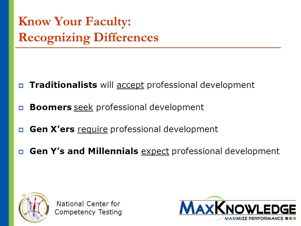 National Center for Competency Testing Know Your Faculty: Recognizing Differences  Traditionalists will accept professional development  Boomers seek professional development  Gen X'ers require professional development  Gen Y's and Millennials expect professional development