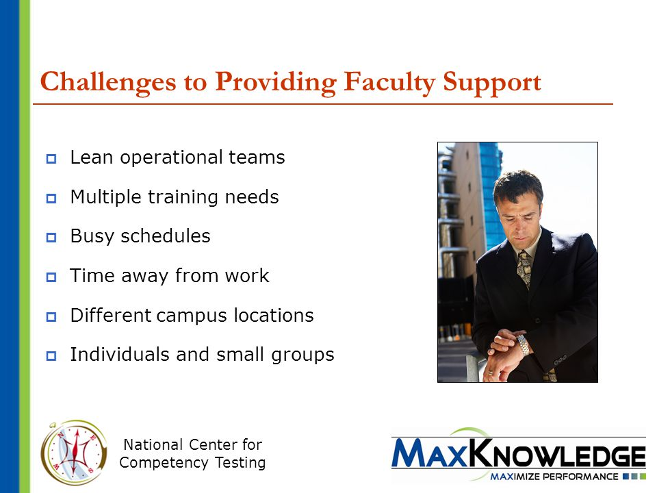 National Center for Competency Testing Challenges to Providing Faculty Support  Lean operational teams  Multiple training needs  Busy schedules  Time away from work  Different campus locations  Individuals and small groups