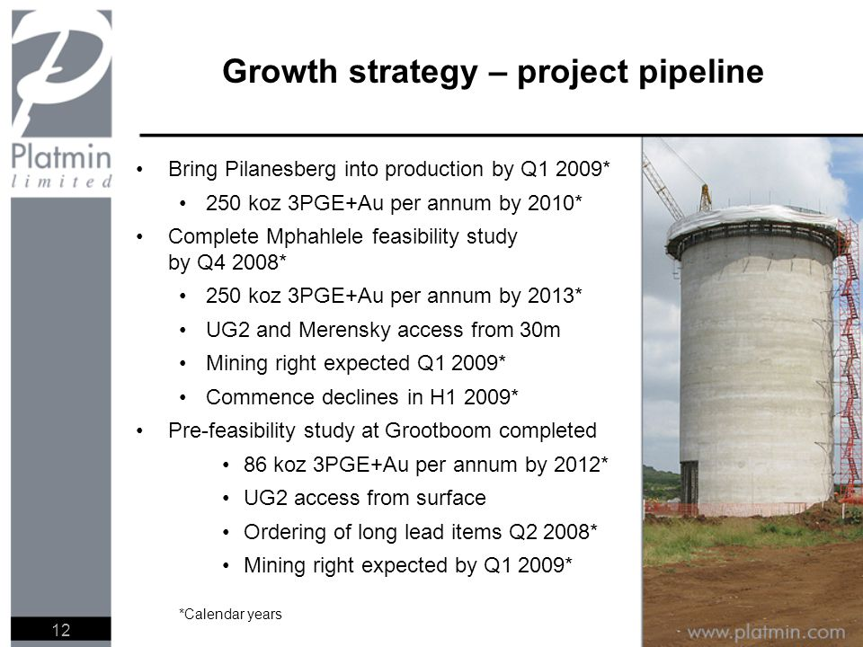 Growth strategy – project pipeline Bring Pilanesberg into production by Q1 2009* 250 koz 3PGE+Au per annum by 2010* Complete Mphahlele feasibility stu